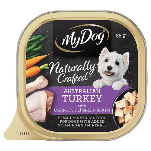 My Dog Naturally Crafted Wet Dog Food Australian Turkey with Carrots and Green Beans 85g Tray