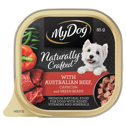 My Dog Naturally Crafted Wet Dog Food Australian Beef, Capsicum and Green Beans 85g Tray