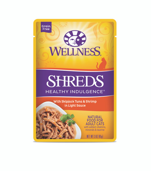 Wellness Healthy Indulgence Shreds Skipjack Tuna & Shrimp in Light Sauce Wet Cat Food