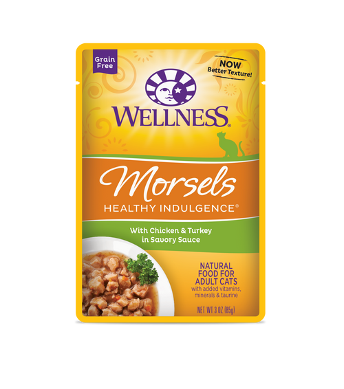 Wellness Healthy Indulgence Morsels Chicken & Turkey in Savory Sauce Wet Cat Food