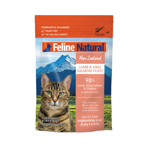 Feline Natural Grain-Free Lamb and Salmon Pouch Wet Cat Food