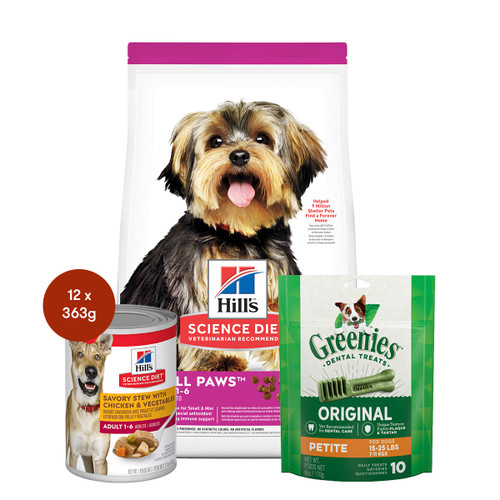 Hill's Science Diet Adult Small Paws Food & Treats Dog Bundle