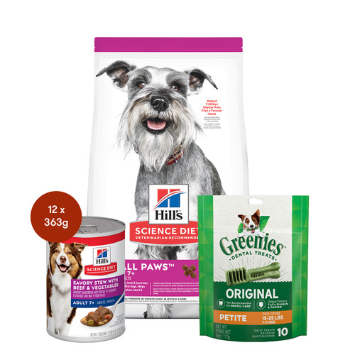 Hill's Science Diet Adult 7+ Small Paws Senior Food & Treats Dog Bundle