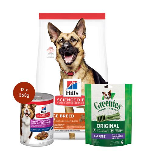 Hill's Science Diet Adult 6+ Large Breed Senior Food & Treats Dog Bundle