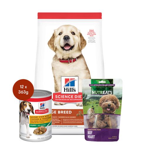 Hill's Science Diet Large Breed Puppy Food & Treats Dog Bundle