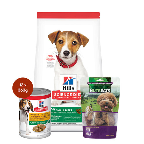 Hill's Science Diet Puppy Small Bites Food & Treats Dog Bundle