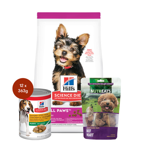 Hill's Science Diet Puppy Small Paws Food & Treats Dog Bundle