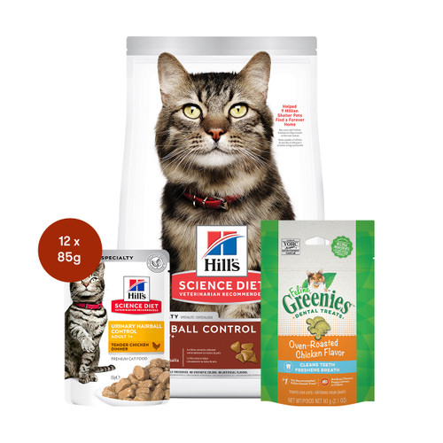 Hill's Science Diet Adult Hairball Control Food & Treats Cat Bundle
