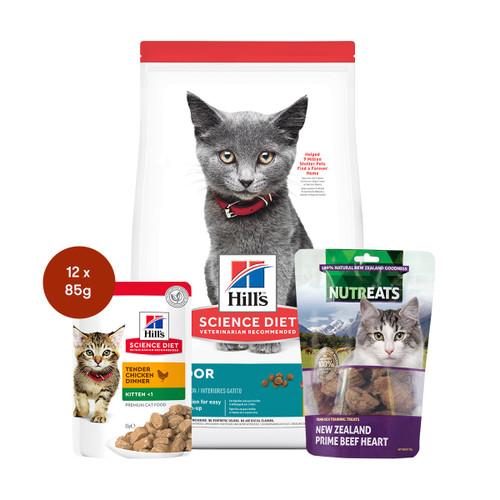Hill's Science Diet Kitten Indoor Food & Treats Cat Bundle