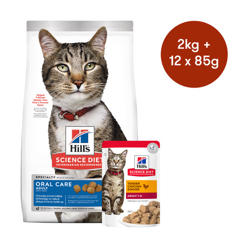 Hill's Science Diet Adult Oral Care Dry + Wet Cat Food Bundle