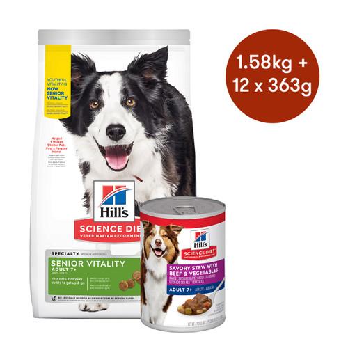 Hill's Science Diet Senior Vitality Dry + Wet Dog Food Bundle