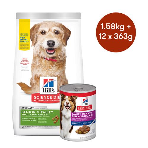 Hill's Science Diet Senior Vitality Small & Mini Dry + Wet Dog Food Bundle