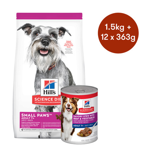 Hill's Science Diet Adult 7+ Small Paws Senior Dry + Wet Dog Food Bundle