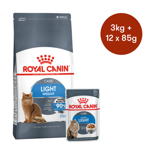 Royal Canin Light Weight Care Dry + Wet Cat Food Bundle