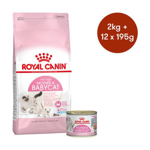 Royal Canin Mother & Babycat  Dry + Wet Cat Food Bundle