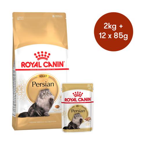 Royal Canin Persian Adult Dry + Wet Cat Food Bundle