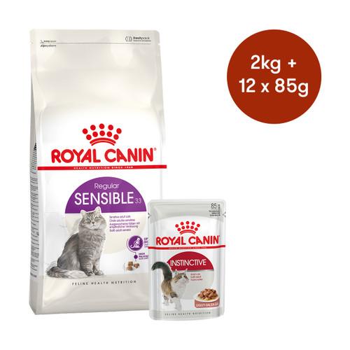 Royal Canin Sensible Dry + Wet Cat Food Bundle