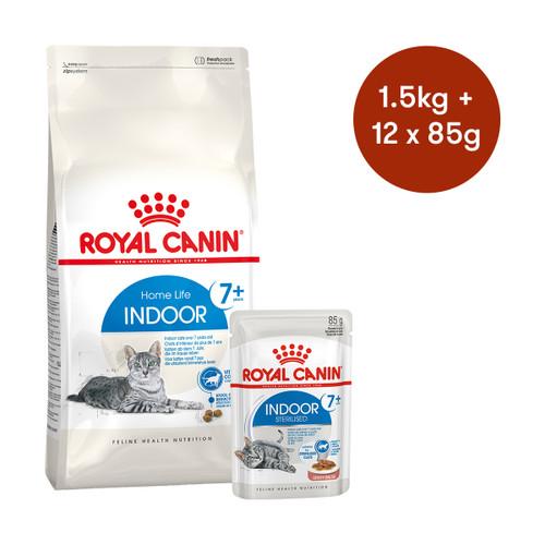 Royal Canin Indoor 7+ Dry + Wet Cat Food Bundle