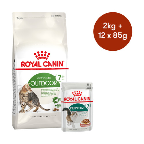 Royal Canin Outdoor 7+ Dry + Wet Cat Food Bundle