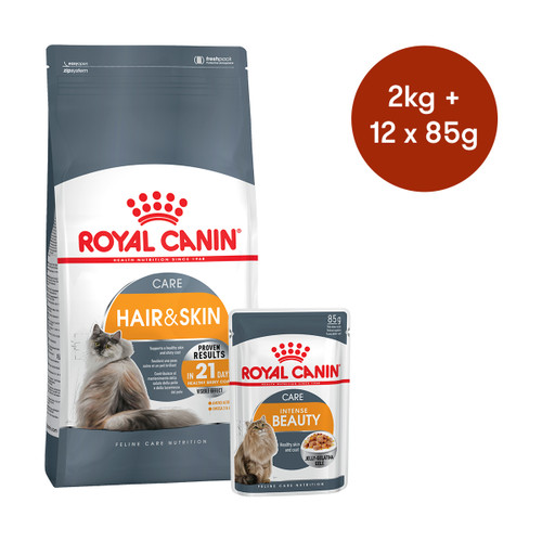 Royal Canin Hair and Skin Care Dry + Wet Cat Food Bundle