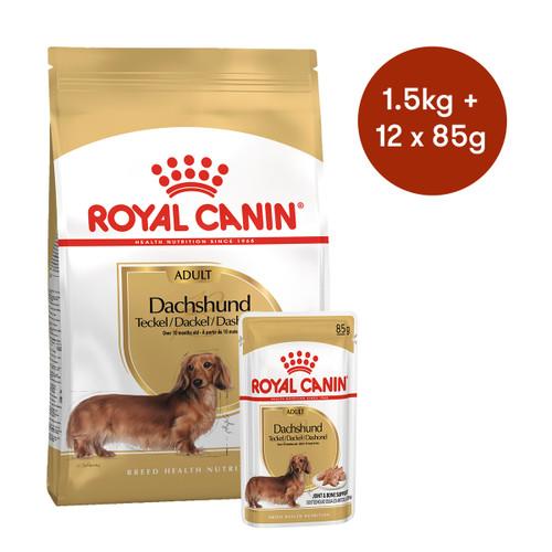 Royal Canin Dachshund Adult Dry + Wet Dog Food Bundle