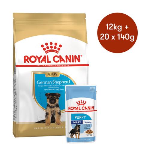 Royal Canin German Shepherd Puppy Dry + Wet Dog Food Bundle
