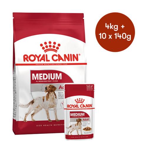 Royal Canin Medium Adult Dry + Wet Dog Food Bundle