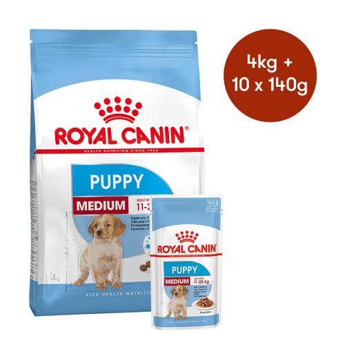 Royal Canin Medium Puppy Dry + Wet Dog Food Bundle