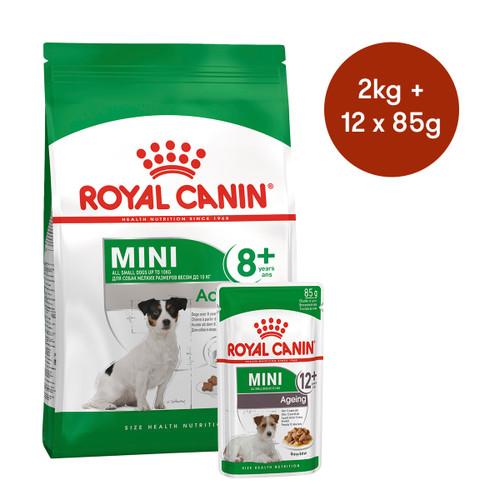 Royal Canin Mini Adult 8+ Dry + Wet Dog Food Bundle