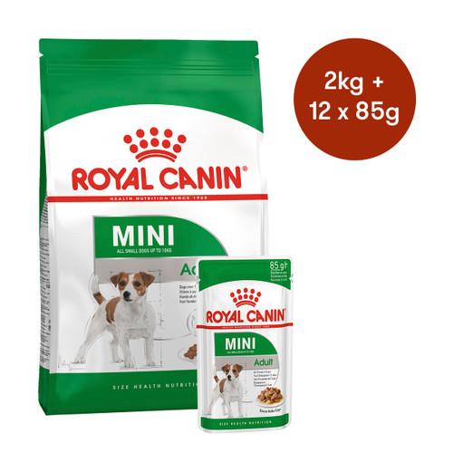 Royal Canin Mini Adult Dry + Wet Dog Food Bundle