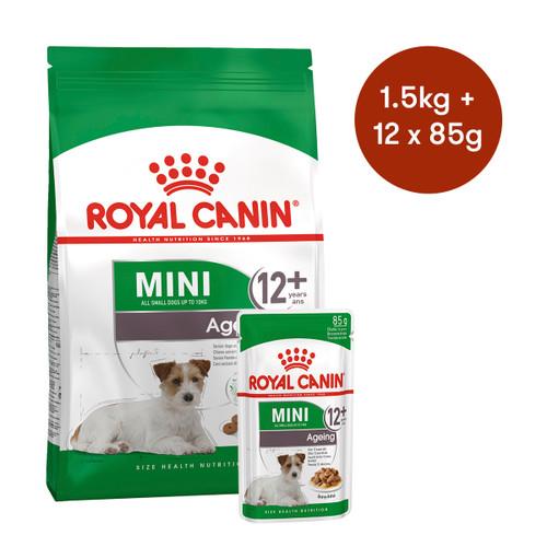 Royal Canin Mini Ageing 12+ Dry + Wet Dog Food Bundle