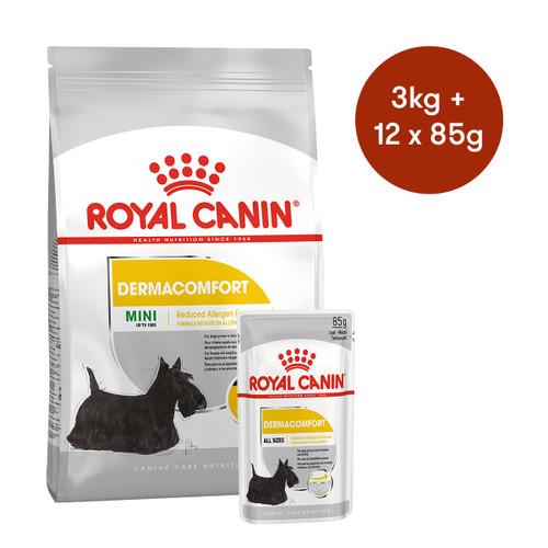 Royal Canin Mini Dermacomfort Dry + Wet Dog Food Bundle