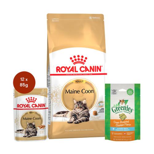Royal Canin Maine Coon Adult Food & Treats Bundle