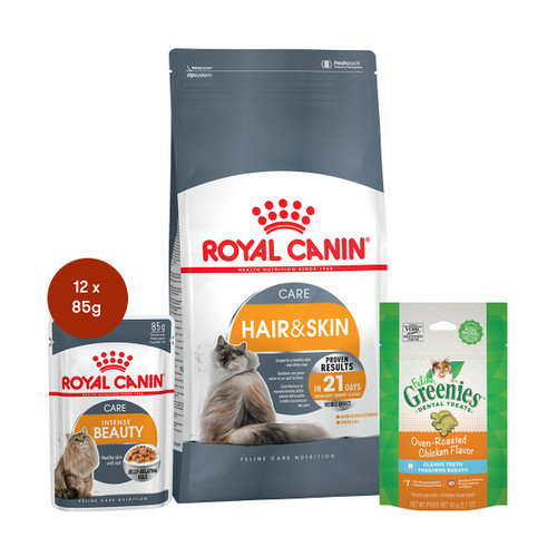 Royal Canin Hair and Skin Care Food & Treats Bundle