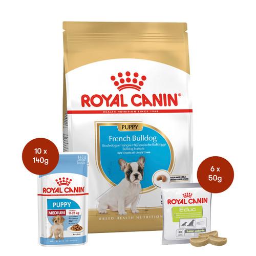 Royal Canin French Bulldog Puppy Food & Treats Bundle