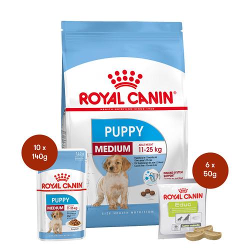 Royal Canin Medium Puppy Food & Treats Bundle