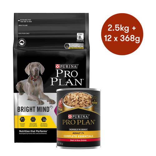 Pro Plan Senior Medium & Large Breed Bright Mind Dry + Wet Dog Food Bundle