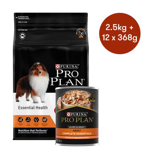 Pro Plan Adult Medium Breed Chicken Dry + Wet Dog Food Bundle