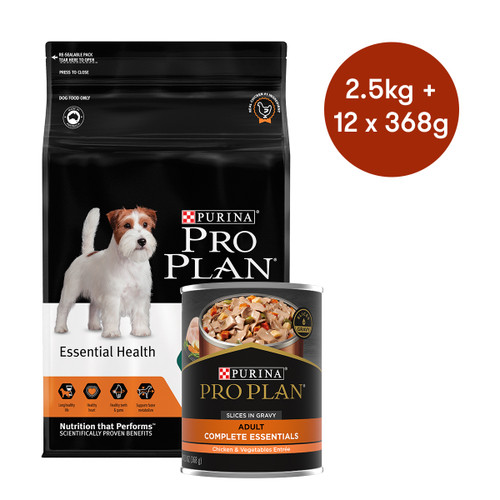 Pro Plan Adult Small & Mini Breed Chicken Dry + Wet Dog Food Bundle