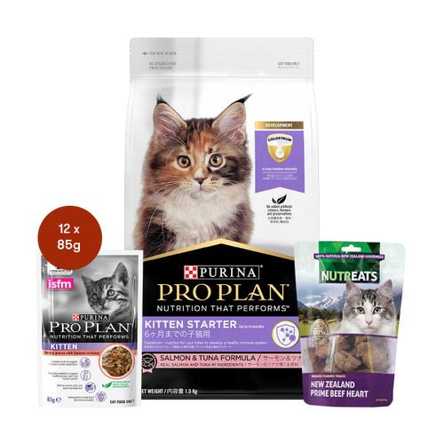 Pro Plan Kitten Starter Salmon & Tuna Cat Food & Treats Bundle