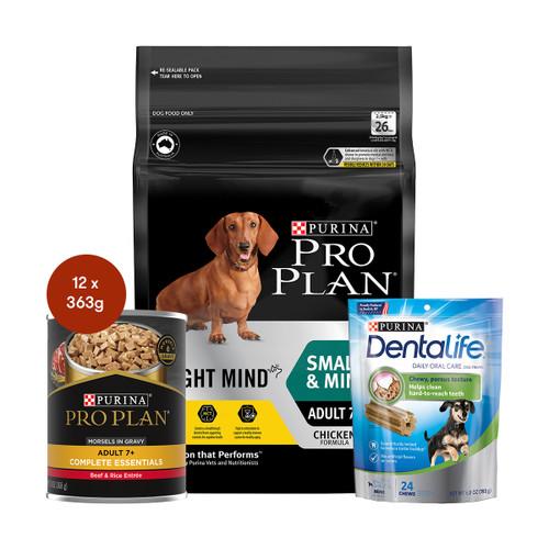 Pro Plan Senior Small & Mini Breed Bright Mind Dog Food & Treats Bundle