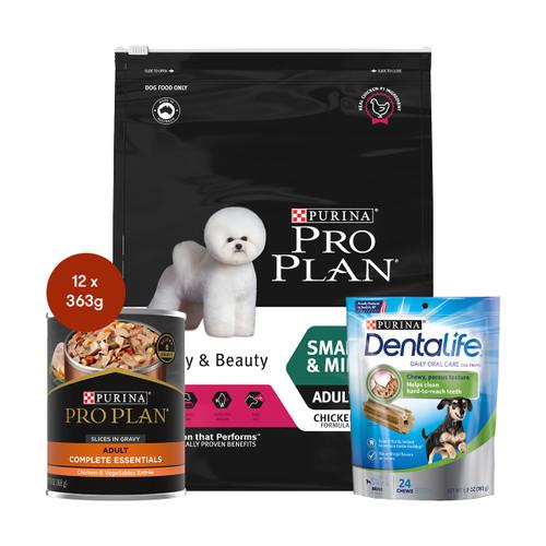 Pro Plan Adult Small Breed Fussy & Beauty Dog Food & Treats Bundle