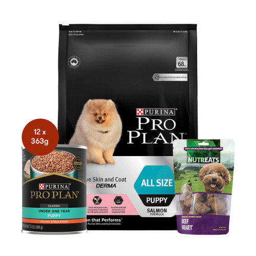 Pro Plan Puppy Sensitive Skin & Coat Salmon Dog Food & Treats Bundle