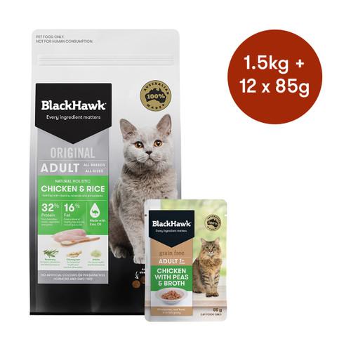 Black Hawk Adult Chicken Dry + Wet Cat Food Bundle