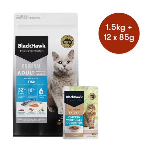 Black Hawk Adult Fish Dry + Wet Cat Food Bundle