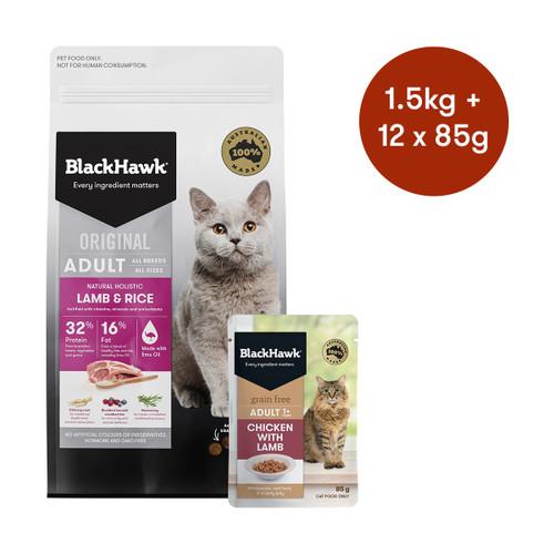 Black Hawk Adult Lamb Dry + Wet Cat Food Bundle