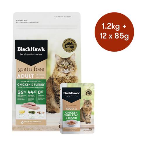 Black Hawk Adult Chicken & Turkey Grain Free Dry + Wet Cat Food Bundle