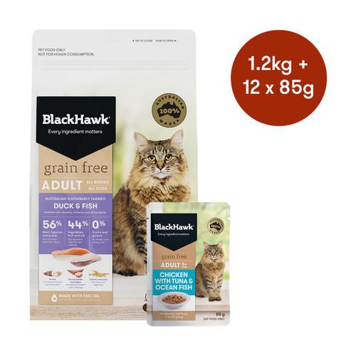 Black Hawk Adult Duck & Fish Grain Free Dry + Wet Cat Food Bundle