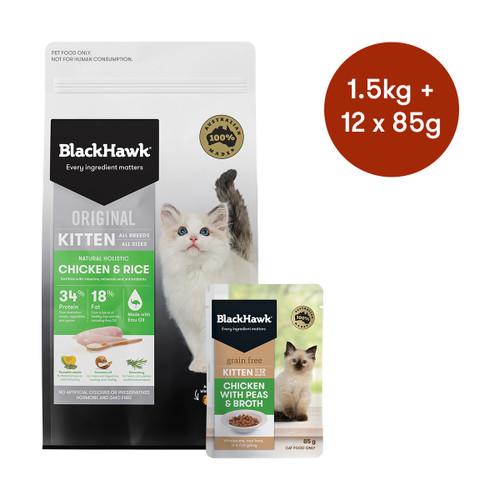 Black Hawk Kitten Chicken Dry + Wet Cat Food Bundle
