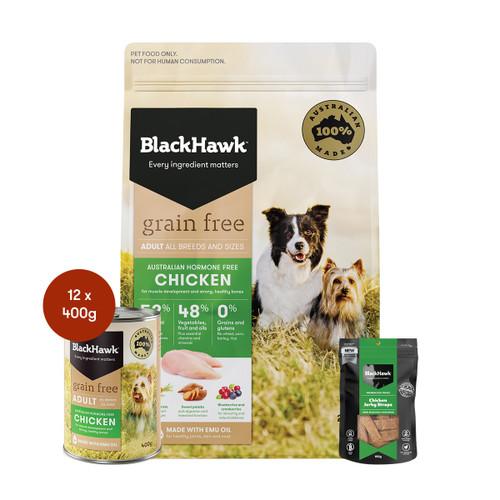 Black Hawk Adult Chicken Grain Free Dog Food & Treats Bundle